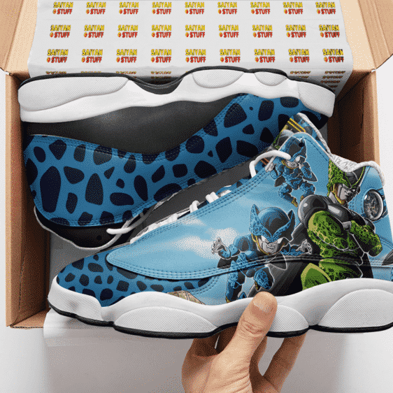 DBZ Perfect Cell And Cell Jr Blue Basketball Shoes - Mockup 2