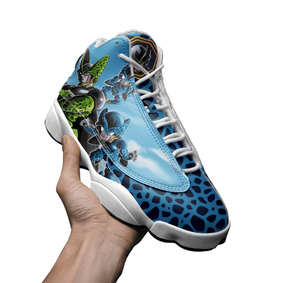 DBZ Perfect Cell And Cell Jr Blue Basketball Shoes - Mockup 3