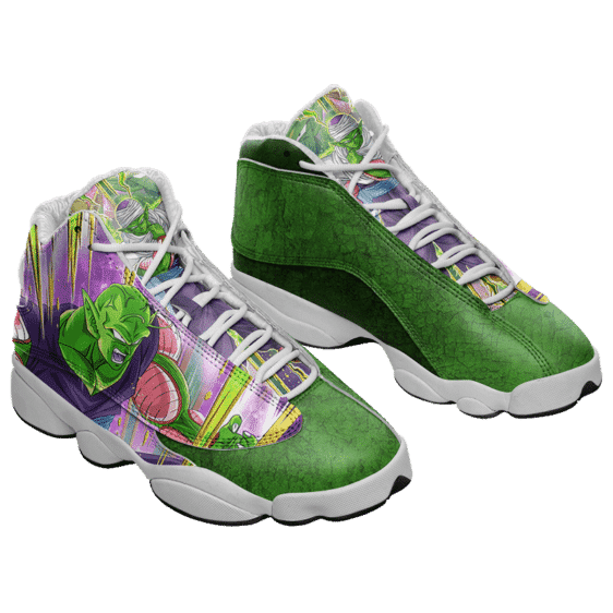 DBZ Piccolo Awesome Dokkan Art Green Basketball Sneakers - Mockup 1