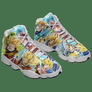 DBZ Super Saiyan Goku And Vegeta All Over Print Basketball Sneakers - Mockup 1