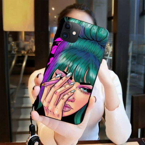 Dope Pop Art Raven Loves Cannabis Joints iPhone 12 Case