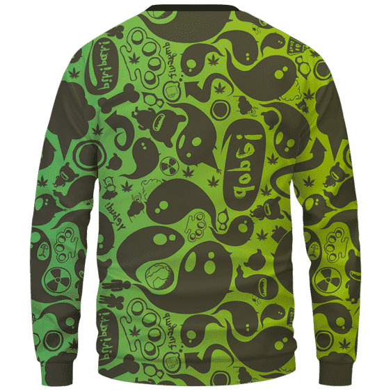 Dope Weed Cartoon Doodle Art 420 Marijuna Crewneck Sweatshirt Back