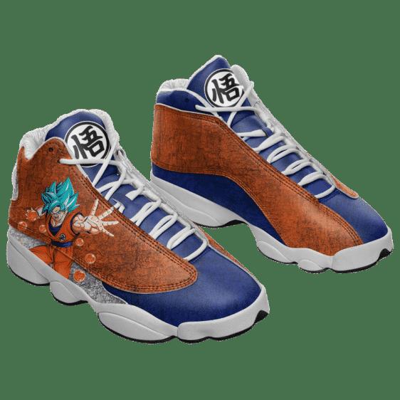 Dragon Ball Goku Blue Kanji Logo Cool Basketball Shoes - Mockup 1