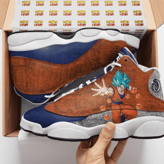 Dragon Ball Goku Blue Kanji Logo Cool Basketball Shoes - Mockup 2