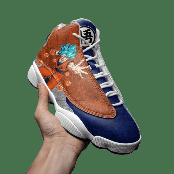 Dragon Ball Goku Blue Kanji Logo Cool Basketball Shoes - Mockup 3
