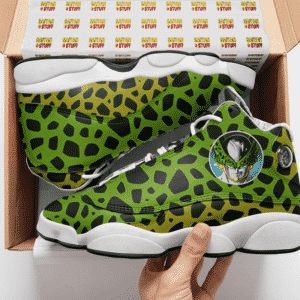 Dragon Ball Perfect Cell Pattern Awesome Basketball Shoes - Mockup 2