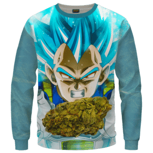 Dragon Ball Stoned Super Saiyan Blue Vegeta Marijuana Nug Cool Crewneck Sweater