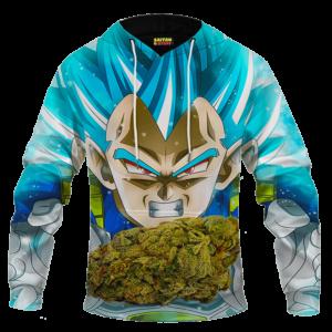Dragon Ball Stoned Super Saiyan Blue Vegeta Marijuana Nug Cool Hoodie