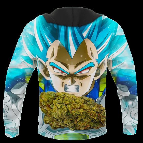 Dragon Ball Stoned Super Saiyan Blue Vegeta Marijuana Nug Cool Hoodie - back