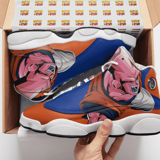 Dragon Ball Z Majin Buu Blue Orange Cool Basketball Shoes - Mockup 2