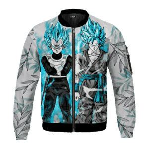 Dragon Ball Z Super Saiyan Blue Vegeta Goku Leafy Chill Bomber Jacket