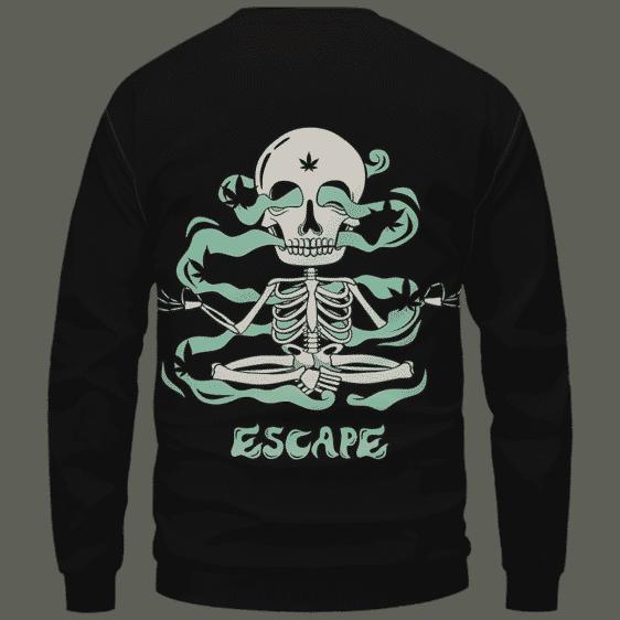 Escape Dope Art Skull Smoking 420 Marijuana Crewneck Sweatshirt Back