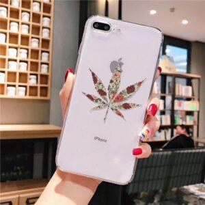 Floral Pattern Marijuana Leaf iPhone 12 (Mini, Pro & Pro Max) Case