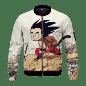 Flying Cute Kid Goku Cloud Nimbus Vintage Beige Bomber Jacket
