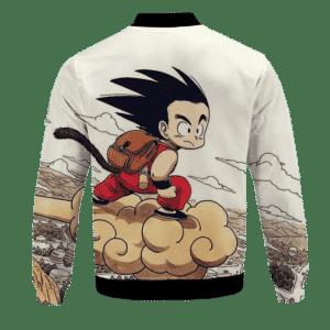 Flying Cute Kid Goku Cloud Nimbus Vintage Beige Bomber Jacket - back