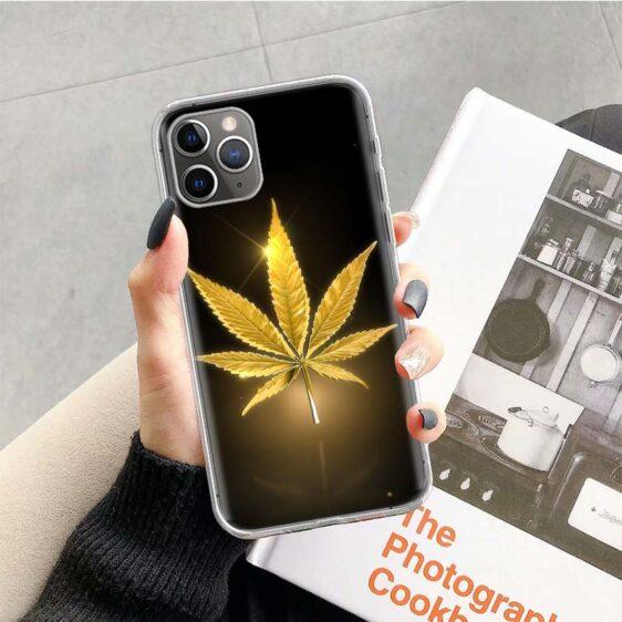 Golden Cannabis Leaf iPhone 12 (Mini, Pro & Pro Max) Case