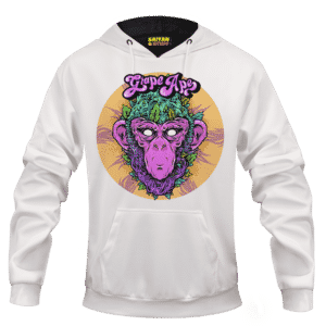 Grape Ape Monkey Marijuana Strain Trippy Vector Art White Hoodie