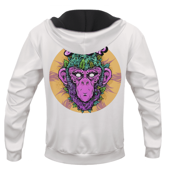 Grape Ape Monkey Marijuana Strain Trippy Vector Art White Hoodie - BACK