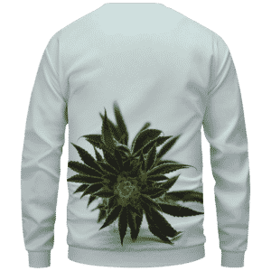 Green Cannabis Sativa Plant 420 Weed Marijuana Sweatshirt Back