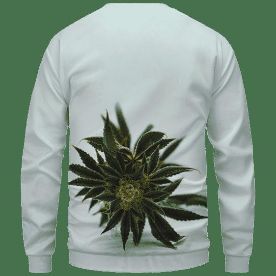 Green Cannabis Sativa Plant 420 Weed Marijuana Sweatshirt Back