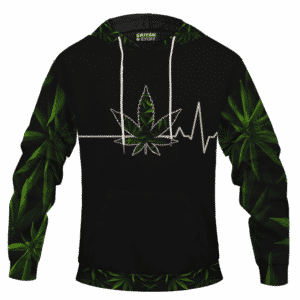 Heart Beating Marijuana LIfe Line Cannabis Themed Hoodie Back