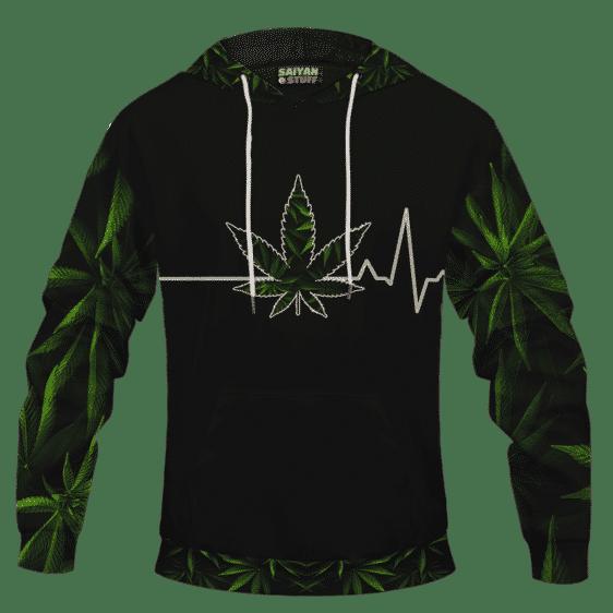 Heart Beating Marijuana LIfe Line Cannabis Themed Hoodie Back