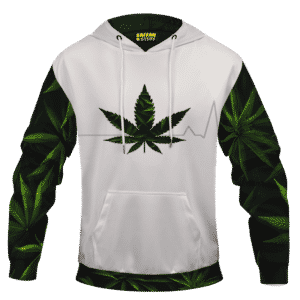 Heart Beating Marijuana Life Line Cannabis White Hoodie