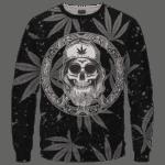 Hippie Skull Awesome Marijuana Leaves Pattern Dope Black Crewneck Sweater