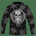 Hippie Skull Awesome Marijuana Leaves Pattern Dope Black Hoodie