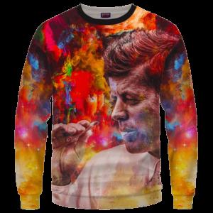 JFK Tribute Smoking Joint Dope Trippy Art Crewneck Sweatshirt