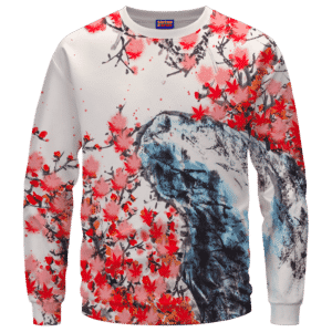 Japanese Art Painting Cherry Marijuana Blossoms 420 Sweater