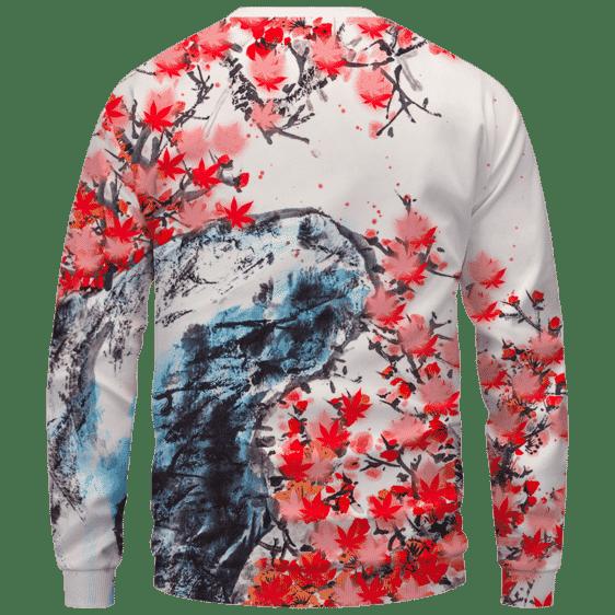 Japanese Art Painting Cherry Marijuana Blossoms 420 Sweater