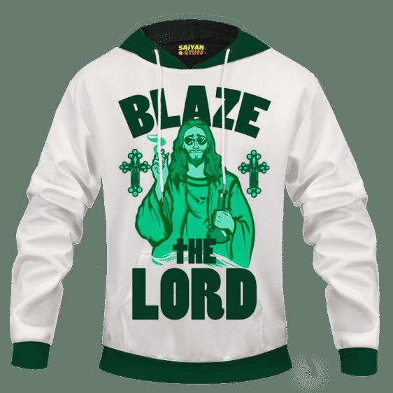 Jesus Smokes Blaze The Lord Funny Art 420 Marijuana Adult Pullover Hoodie