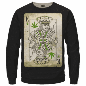 King Of Marijuana Card Awesome 420 Weed Black Crewneck Sweater