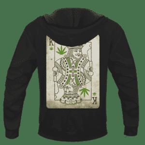 King Of Marijuana Card Awesome 420 Weed Black Hoodie - BACK