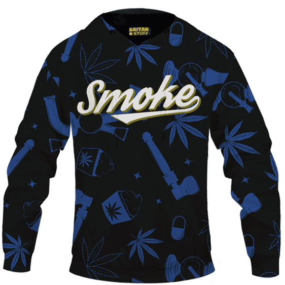 Marijuana 420 Smoke Blue Cool Minimalist Hoodie