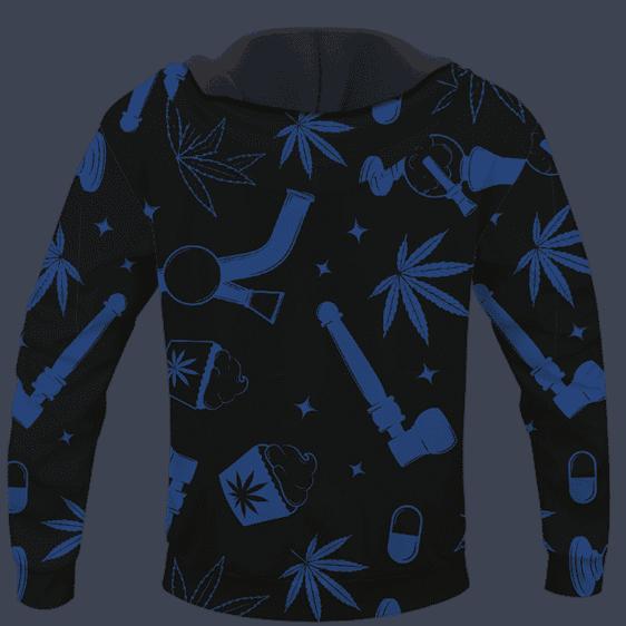 Marijuana 420 Smoke Blue Cool Minimalist Hoodie - BACK
