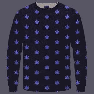 Marijuana Cool And Awesome Pattern Navy Blue Crewneck Sweatshirt