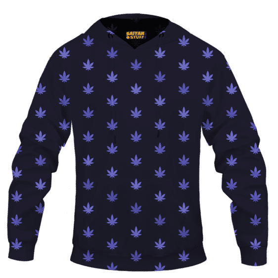 Marijuana Cool And Awesome Pattern Navy Blue Hoodie