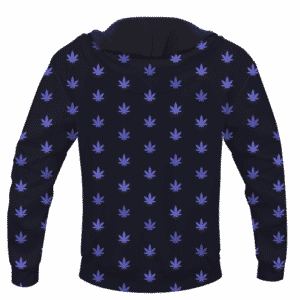 Marijuana Cool And Awesome Pattern Navy Blue Hoodie - BACK