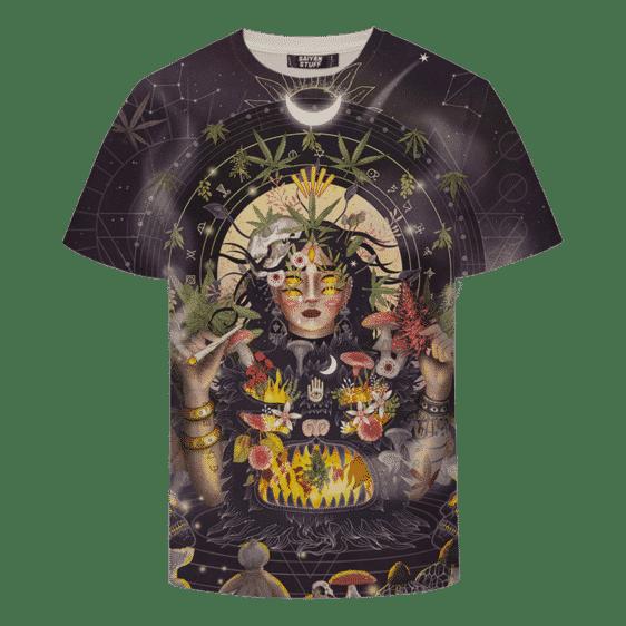Marijuana Cool Digital Art Smoking Joint Trippy All Over Print T-shirt