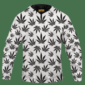 Marijuana Cool White Black Pattern Awesome Hoodie