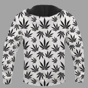 Marijuana Cool White Black Pattern Awesome Hoodie - BACK