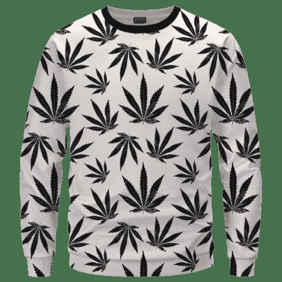Marijuana Cool White Black Pattern Awesome Sweater