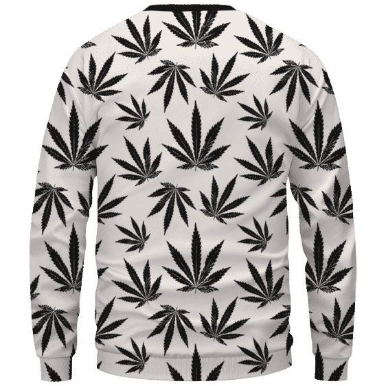Marijuana Cool White Black Pattern Awesome Sweater - Back Mockup