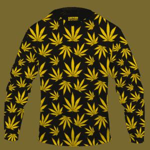 Marijuana Cool Yellow Black Pattern Awesome Hoodie