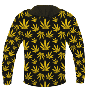 Marijuana Cool Yellow Black Pattern Awesome Hoodie - BACK