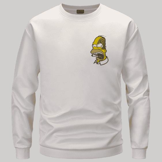 Marijuana Enthusiast Stoned Homer Simpson Awesome White Crewneck Sweater