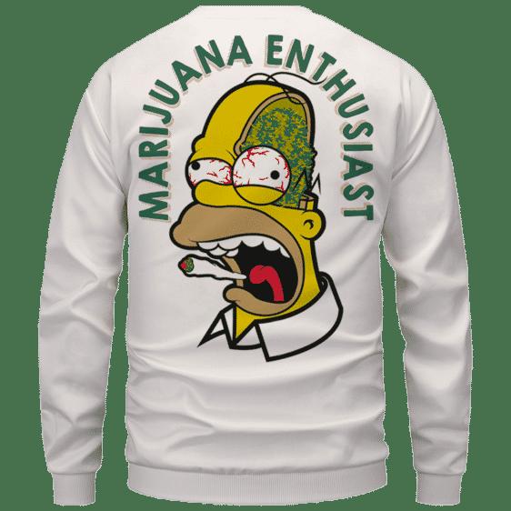 Marijuana Enthusiast Stoned Homer Simpson Awesome White Crewneck Sweater - Back Mockup