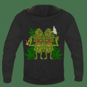 Marijuana Good Buds Stick Together Stoned Cartoon Dope Hoodie - BACK